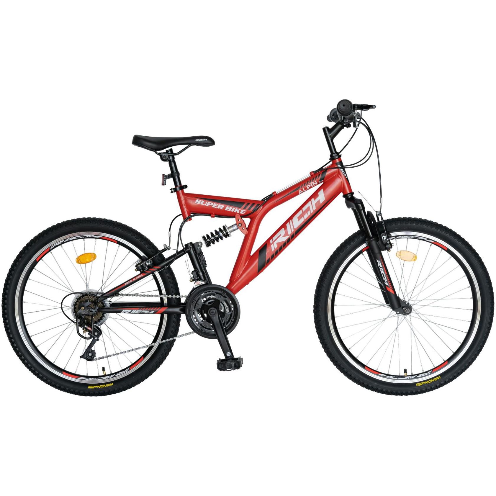 Fotografie Bicicleta MTB Rich Alpin R2449, suspensie fata/spate, roata 24 inch, frana tip V-Brake, 18 Viteze, Rosu/Negru