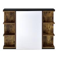 [en.casa]® Fürdőszobai fali szekrény Harstad fürdőszoba szekrény tükrös szekrényajtóval 64 x 80 x 20 cm forgácslap melaminbevonattal fa-hatású, sötét árnyalat / fekete