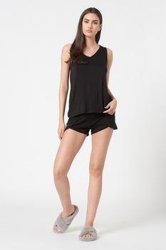 ESPRIT Bodywear, Dilma V-nyakú pizsama, Fekete