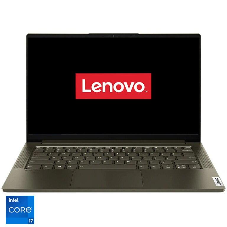 "Fotografie Laptop ultraportabil Lenovo Yoga Slim 7 14ITL05 cu procesor Intel Core i7-1165G7 pana la 4.70 GHz, 14"", Full HD, IPS, 16GB, 1TB SSD, Intel Iris Xe Graphics, Free DOS, Dark Moss"