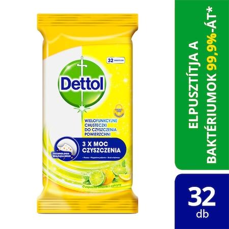 Dettol Power&Fresh univerzális felülettisztító törlőkendő, Citrom&Lime, 32db