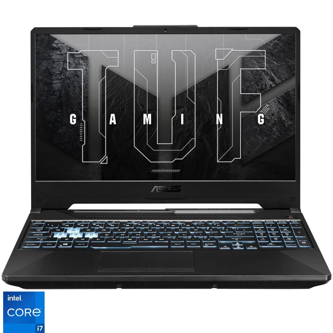 "Fotografie Laptop Gaming ASUS TUF F15 FX506HM cu procesor Intel® Core™ i7-11800H pana la 4.60 GHz, 15.6"", Full HD, 144Hz, 16GB, 512GB SSD, NVIDIA® GeForce RTX™ 3060 6GB, Free DOS, Graphite Black"