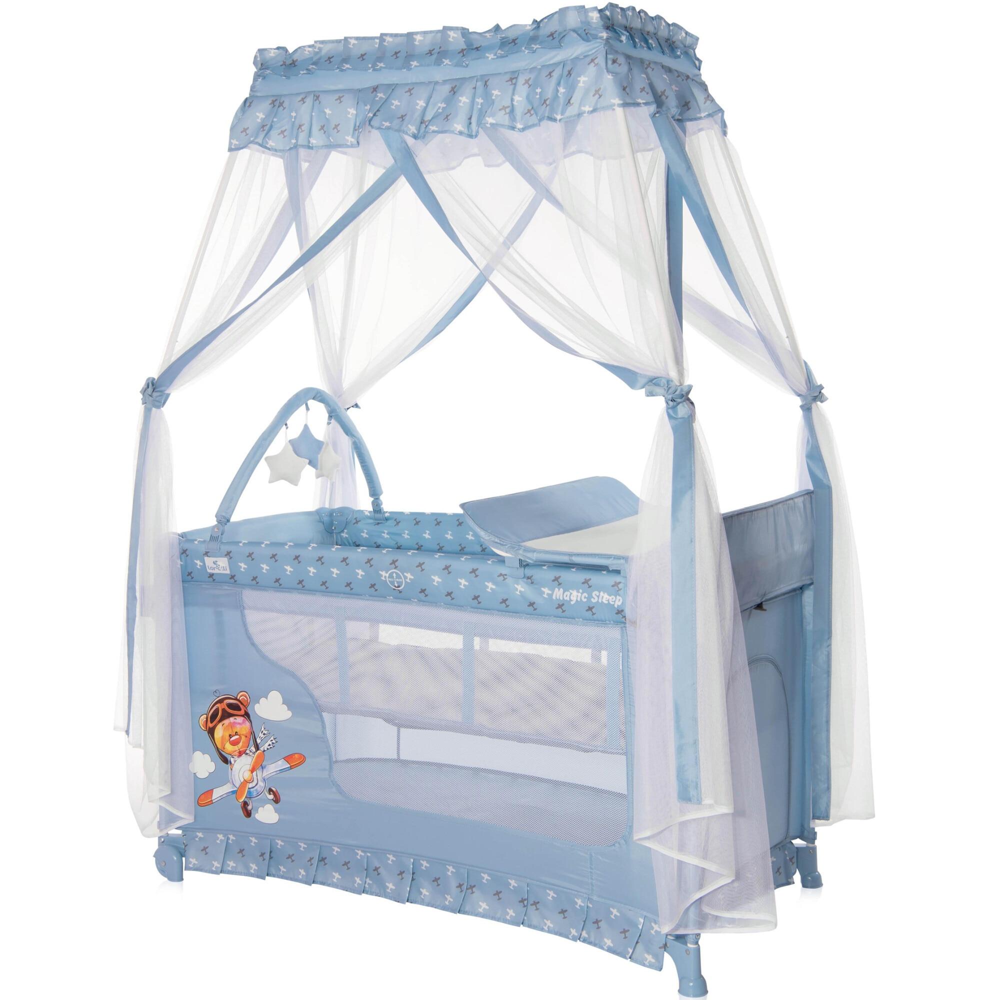 Fotografie Patut pliabil stil baldachin, Lorelli, Magic Sleep, cu accesorii, Blue Adventure, colectie 2021