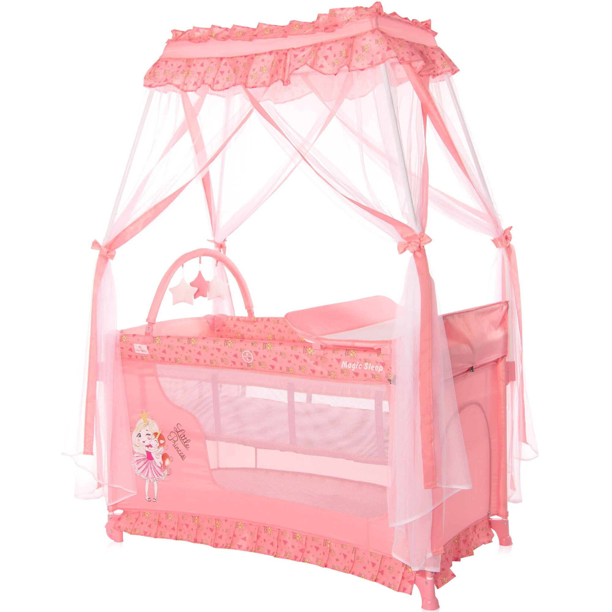 Fotografie Patut pliabil stil baldachin, Lorelli, Magic Sleep, cu accesorii, Pink Princess
