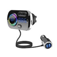 Bluetooth FM transmitter, USB töltő porttal, RGB világítással