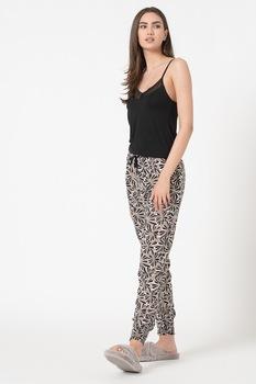 ESPRIT Bodywear, Diandrah mintás pizsama csipkebetétekkel, tevebarna/fekete/fehér