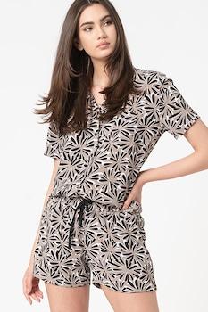 ESPRIT Bodywear, Diandrah pizsama mellzsebbel, tevebarna/fekete/fehér