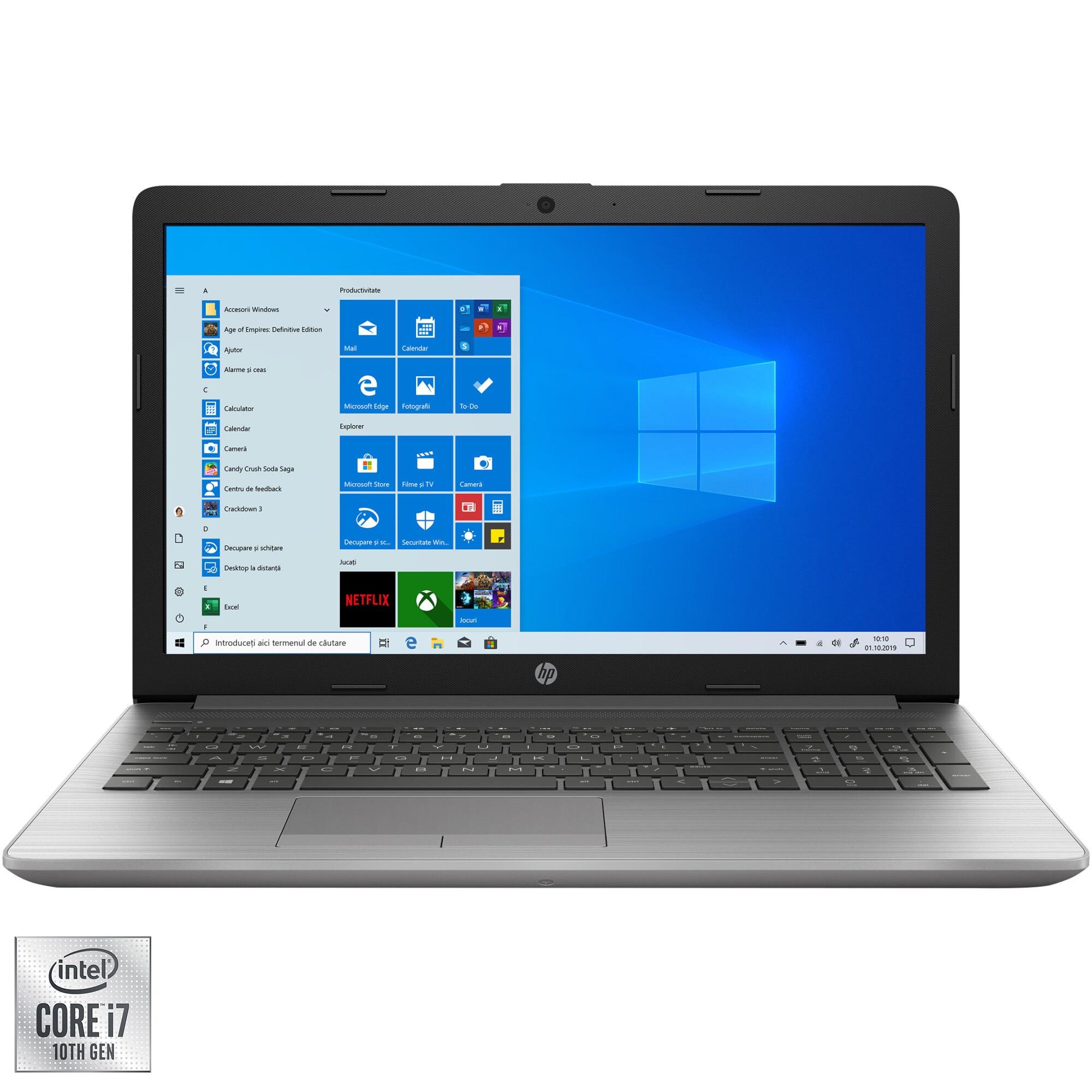 "Fotografie Laptop HP HP 250 G7 cu procesor Intel® Core™ i7-1065G7, 15.6"", Full HD, 8GB, 256GB SSD, Intel Iris Plus Graphics, Windows 10 Home, Silver"