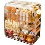 Organizator cosmetic, transparent, incapator, cu un sertar