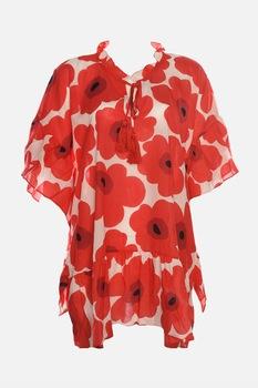 Trendyol, Lágy esésű strandruha virágmintával, Piros/Fehér