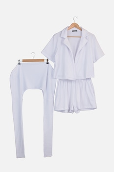 Trendyol, Stranding, rövidnadrág és táska szett, Fehér
