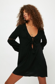 Trendyol, Mini fazonú strandruha megkötővel, Fekete