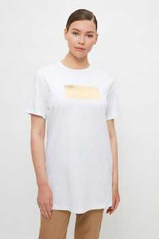 Trendyol, Levélmintás hosszított póló, Fehér