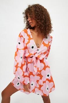 Trendyol, Virágmintás strandruha, Rózsaszín/Narancssárga