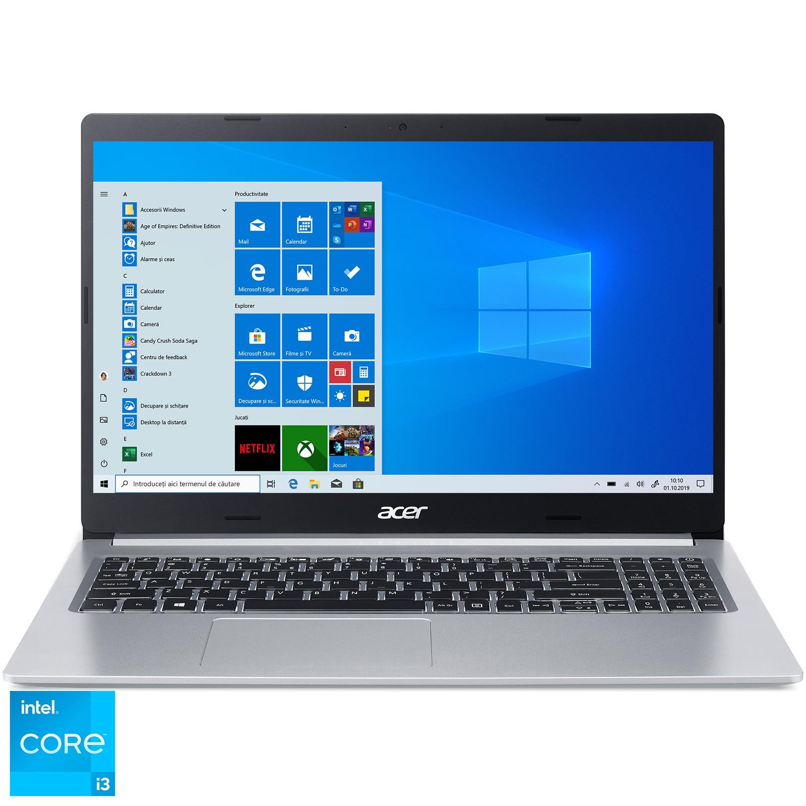 "Fotografie Laptop Acer Aspire 5 A514 cu procesor Intel Core i3-1115G4, 14"", Full HD, 8GB, 256GB SSD, Intel UHD Graphics, Windows 10 Home, Pure Silver"