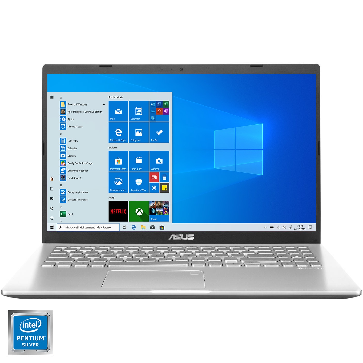 "Fotografie Laptop ASUS X509MA cu procesor Intel Pentium Silver N5030, 15.6"", HD, 4GB, 1TB HDD, Intel UHD Graphics 605, No OS, Windows 10 Home, Transparent silver"