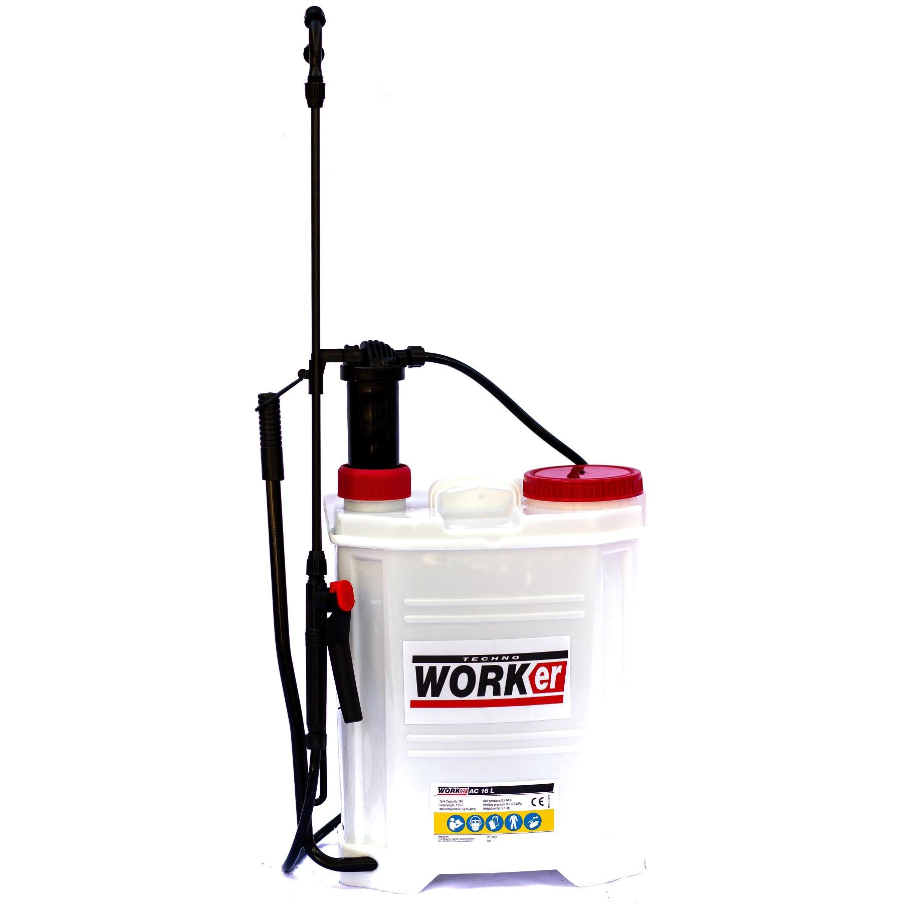 Fotografie Pompa pentru stropit (vermorel) manual TECHNOWORKER, 0.15-0.4 Mpa presiune lucru, 16 l rezervor, 1.2 m lungime furtun