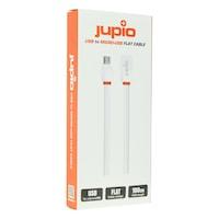 Jupio Mikro-USB, USB töltő és adatkábel, 1 méteres, lapos kivitelű töltő-átalakító vezeték, fehér színű