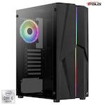 Sistem Desktop PC Gaming Serioux Powered by ASUS cu procesor Intel® Core™ i5-10400F pana la 4.30GHz, 8GB DDR4, 500GB SSD, GeForce® GTX 1050 Ti 4GB GDDR5, No OS