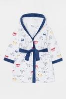 OVS, Десениран халат с качулка и колан, Тъмносин / Бял / Червен, 86 CM Standard