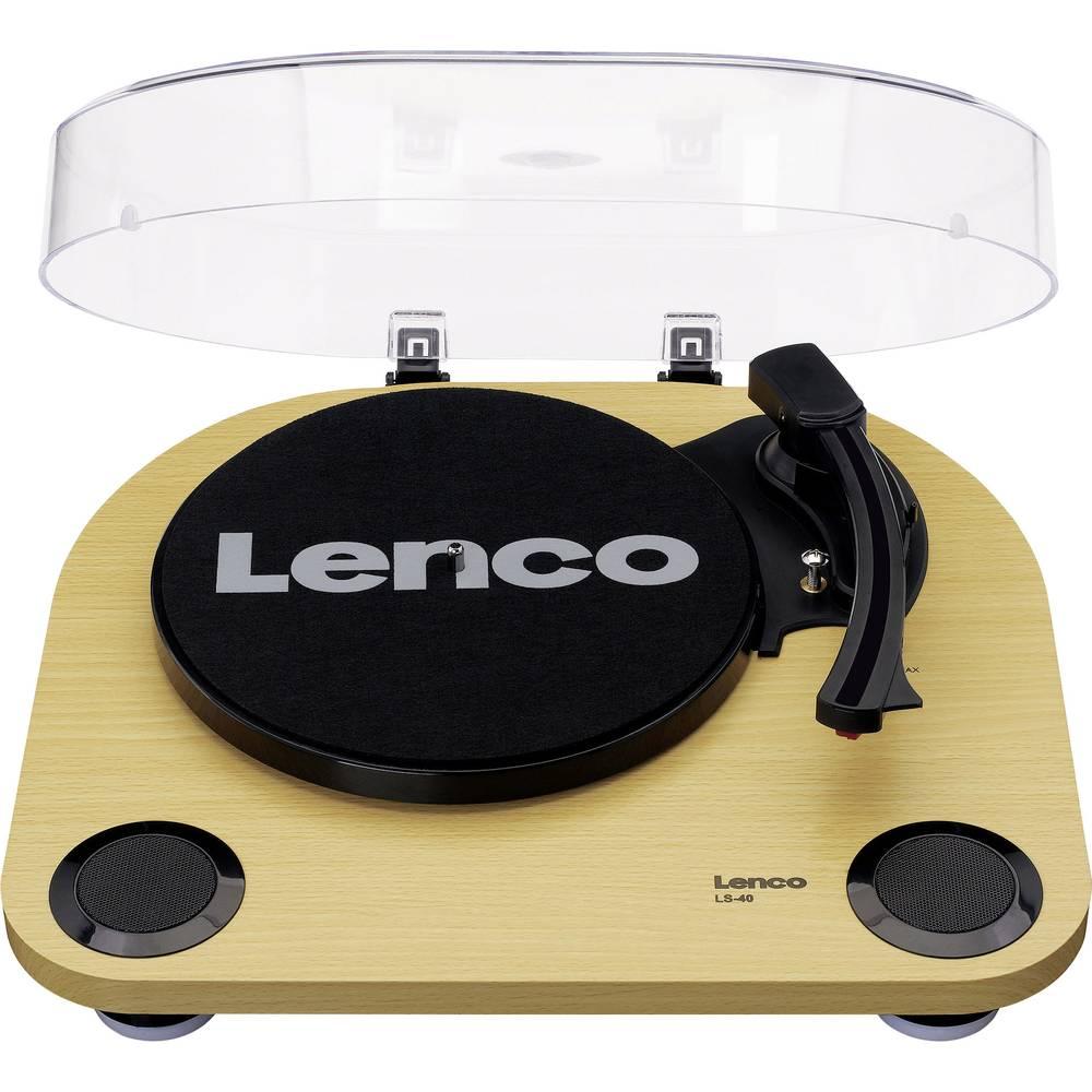 Fotografie Pick-up Lenco LS-40WD, AUX, RCA, 2 Viteze, Difuzoare, Transmisie Curea, Semi-automatic, Capac detasabil, Lemn