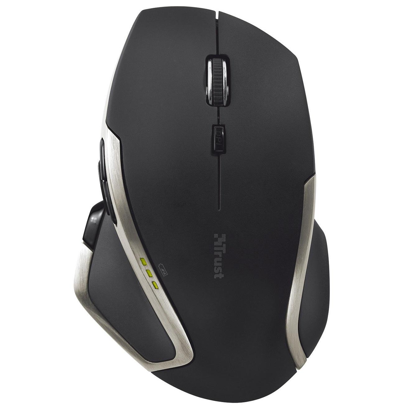 Fotografie Mouse Trust Evo Advanced, Wireless, Negru
