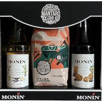 Monin+Mantaro szett Calma Szemes kávé 225 g + Csokis süti és Vanília szirup, 2x250 ml