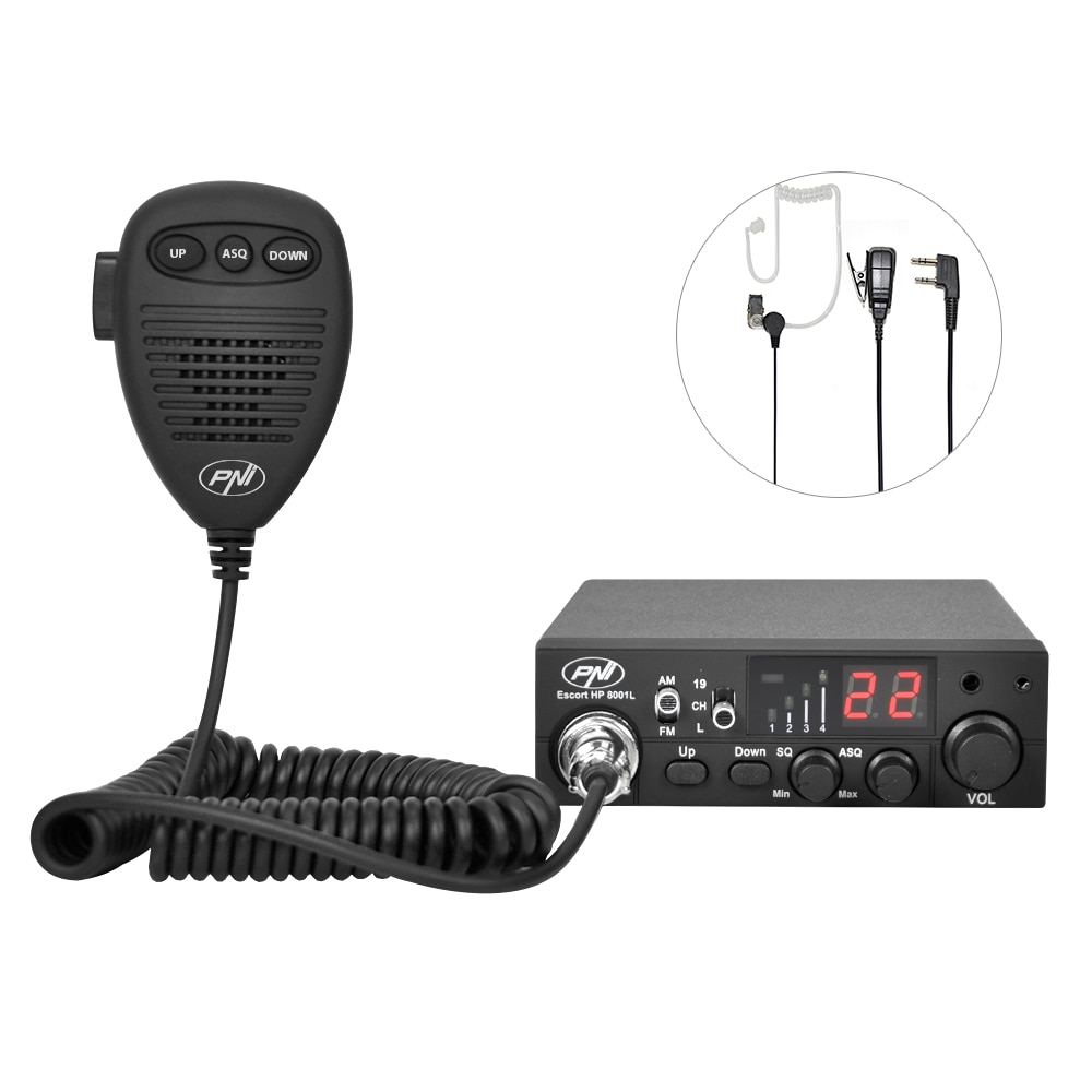 Fotografie Statie radio CB PNI Escort HP 8001L ASQ include casti cu microfon HS81