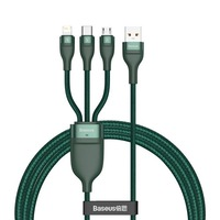 Baseus 3in1 USB/Type-C + Lightning + Micro USB kábel, 40W, 5A, 1,2m, QC - CA1T3-06, Zöld