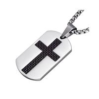 Lantisor Cu Pandantiv Dog Tag Cruce - Inox , Argintiu, Inox
