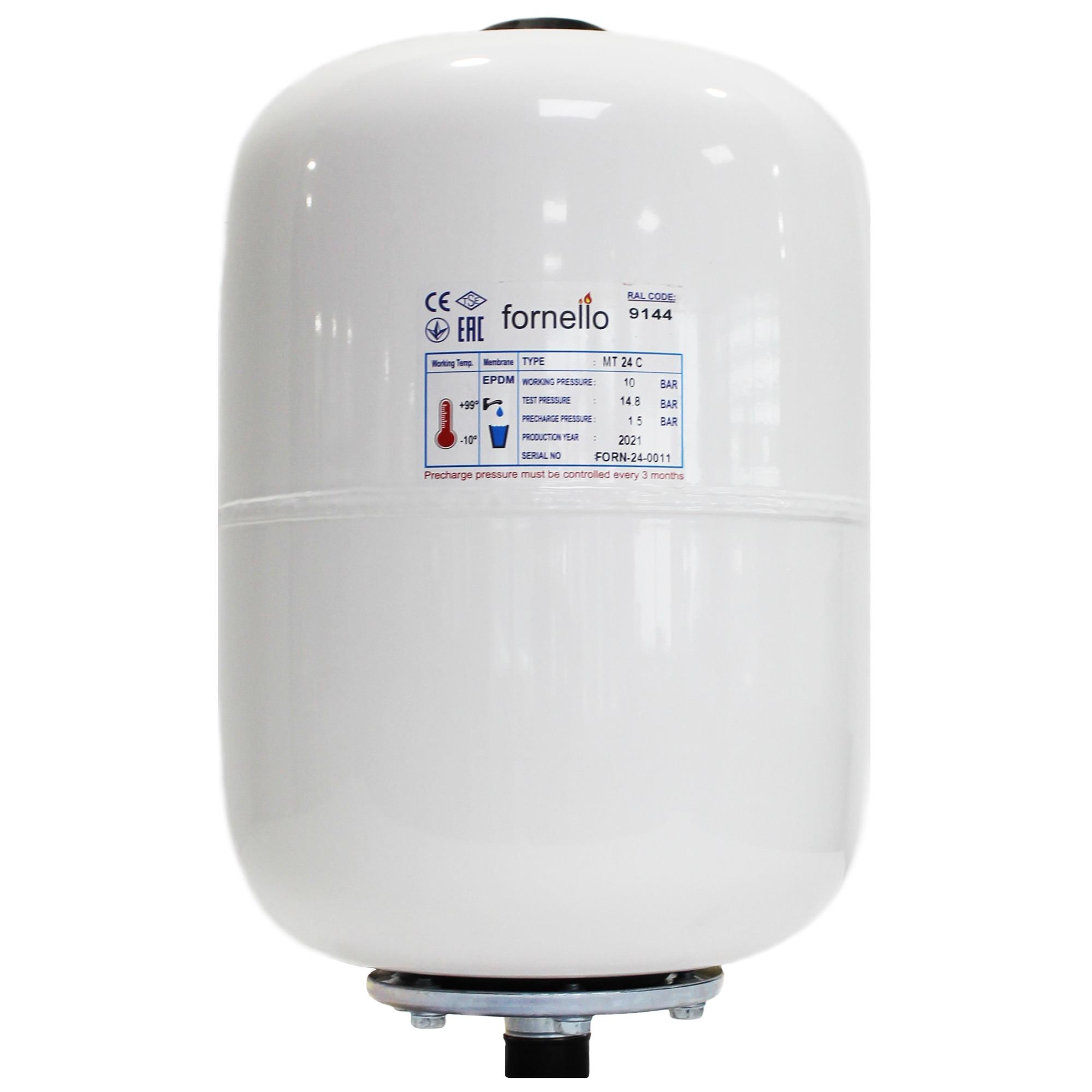 Fotografie Vas expansiune sanitar Fornello, 24 litri, vertical, culoare alb, presiune maxima 10 bar, membrana EPDM