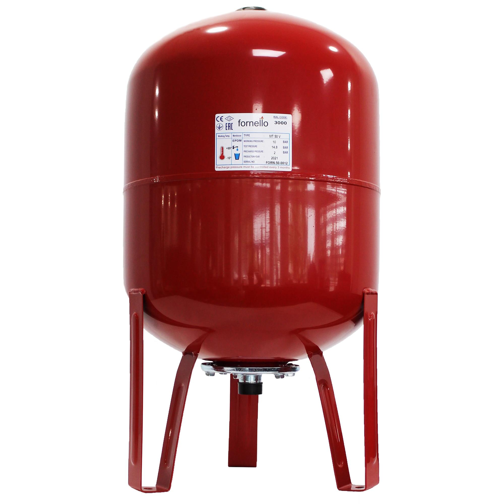 Fotografie Vas expansiune termic Fornello, 50 litri, vertical, cu picioare, culoare rosu, presiune maxima 10 bar, membrana EPDM