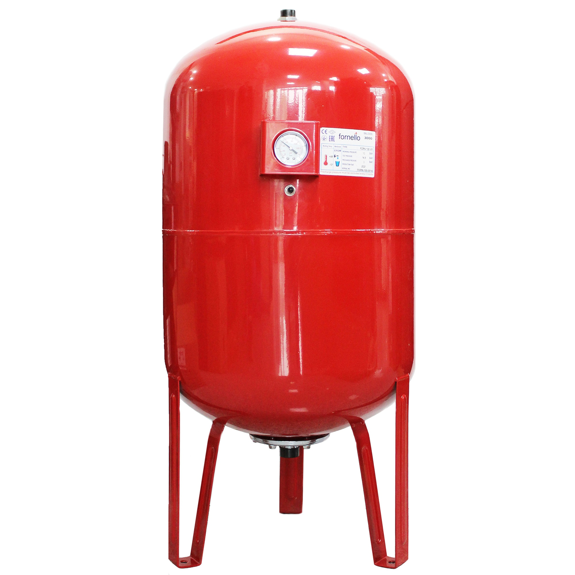 Fotografie Vas expansiune termic Fornello, 100 litri, vertical, cu picioare si manometru, culoare rosu, presiune maxima 10 bar, membrana EPDM