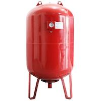 Термичен разширителен съд Fornello, 300 литра, Вертикален, С крака и манометър, Червен, Максимално налягане 10 бара, Мембрана EPDM