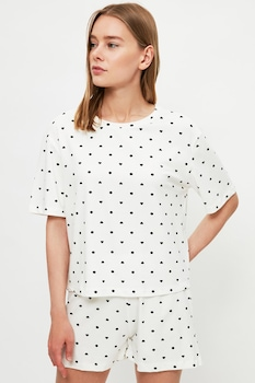 Trendyol, Pöttyös rövid ujjú pizsama szív alakú mintával, Fehér