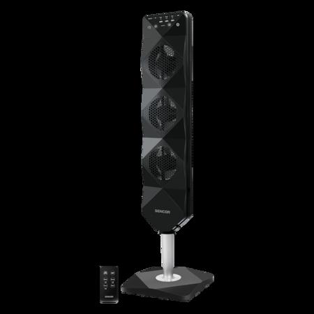 Sencor SFN5040BL toronyventilátor, 90 mm, Ultra csendes működés, Érintőszenzoros vezérlő panel, 3 beépített ventilátor, 90 W, Fekete