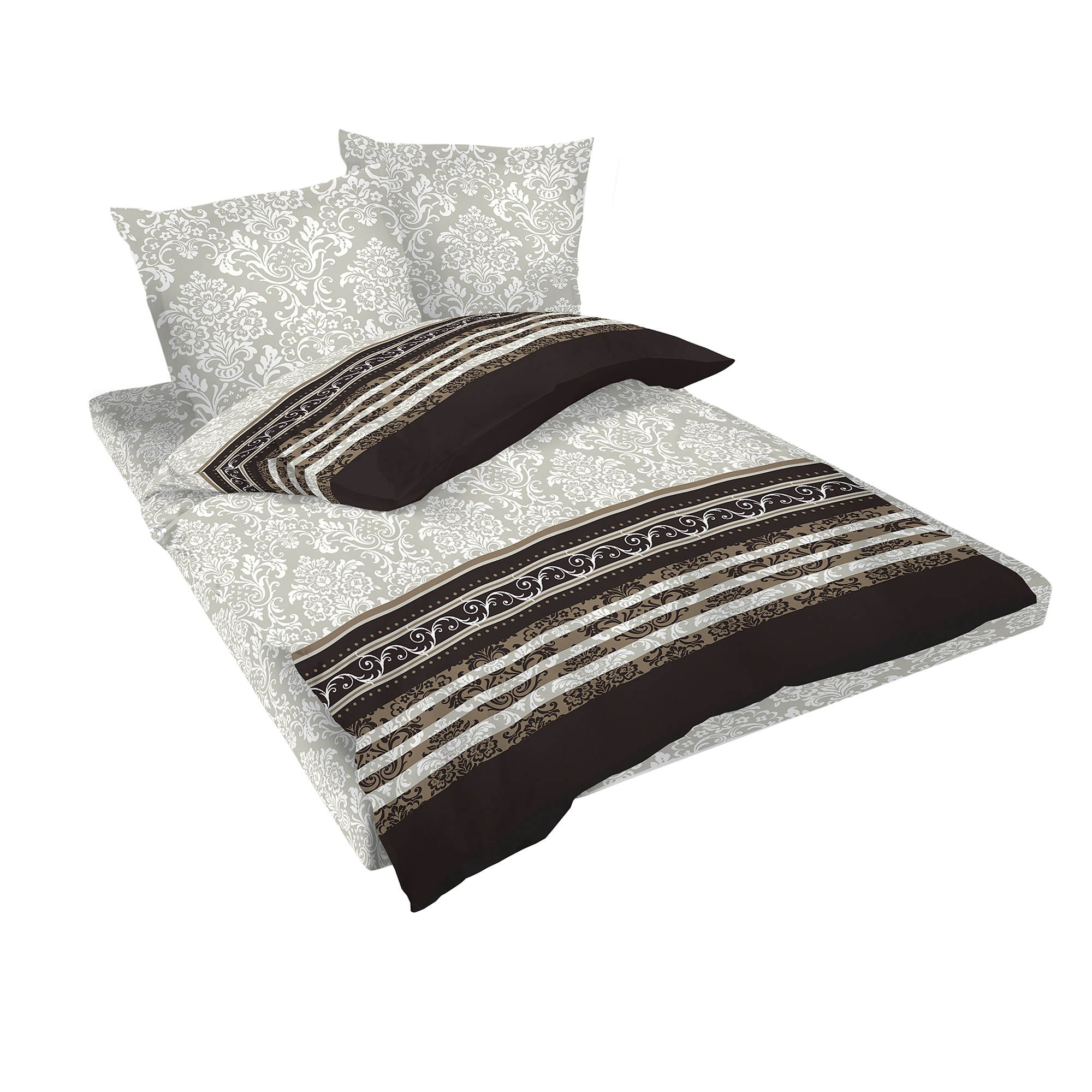 Fotografie Lenjerie de pat Rococo Dilios, pentru 2 persoane, bumbac ranforce, multicolor