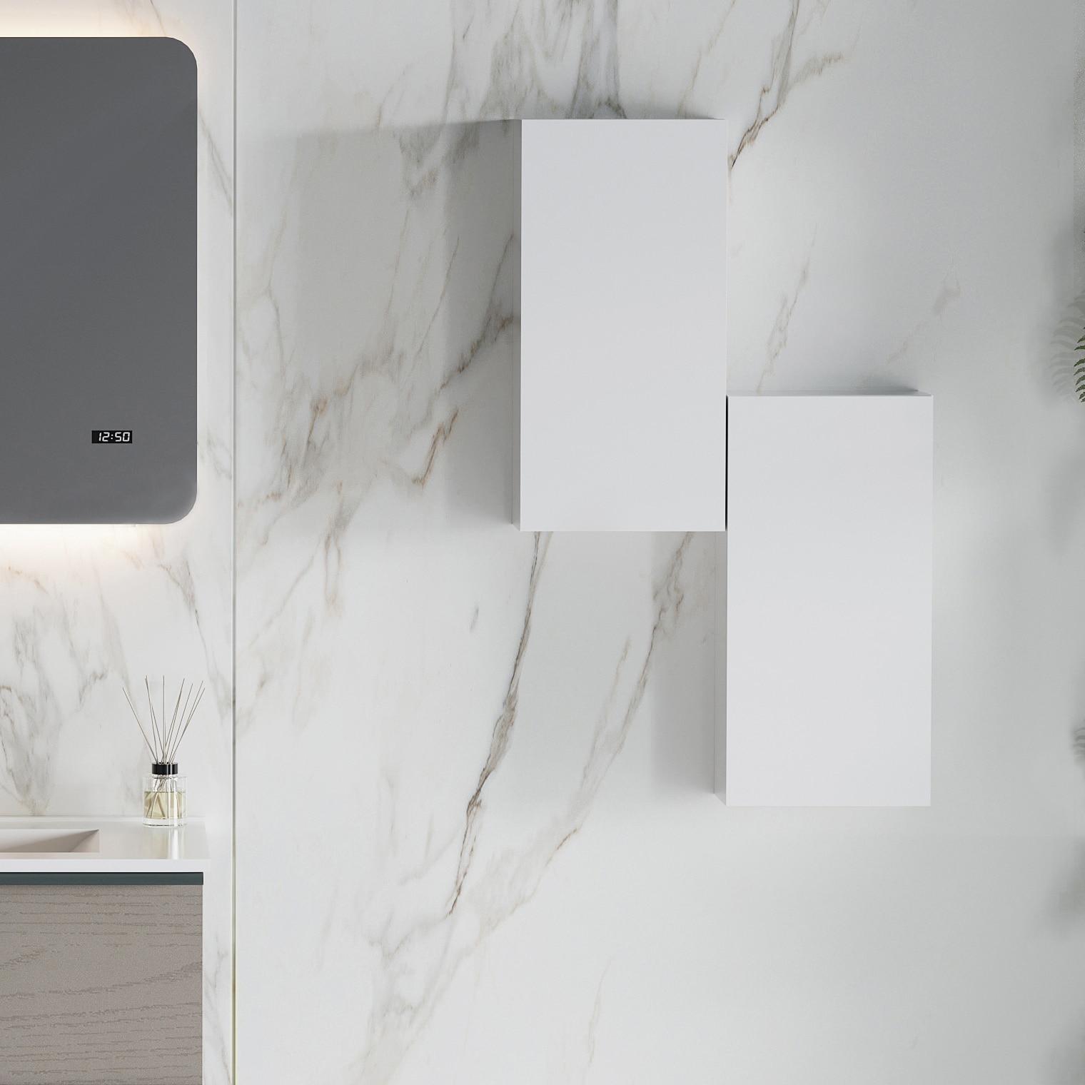Fotografie Dulap pentru baie modular Kring, reversibil, cu o usa, alb mat, 25x50x15.1 cm