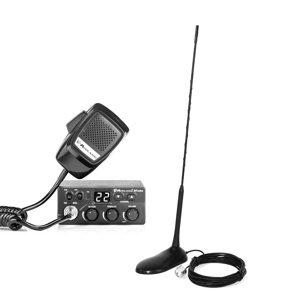 Fotografie Kit Statie radio CB Midland M Zero Plus + Antena PNI Extra 45 cu magnet