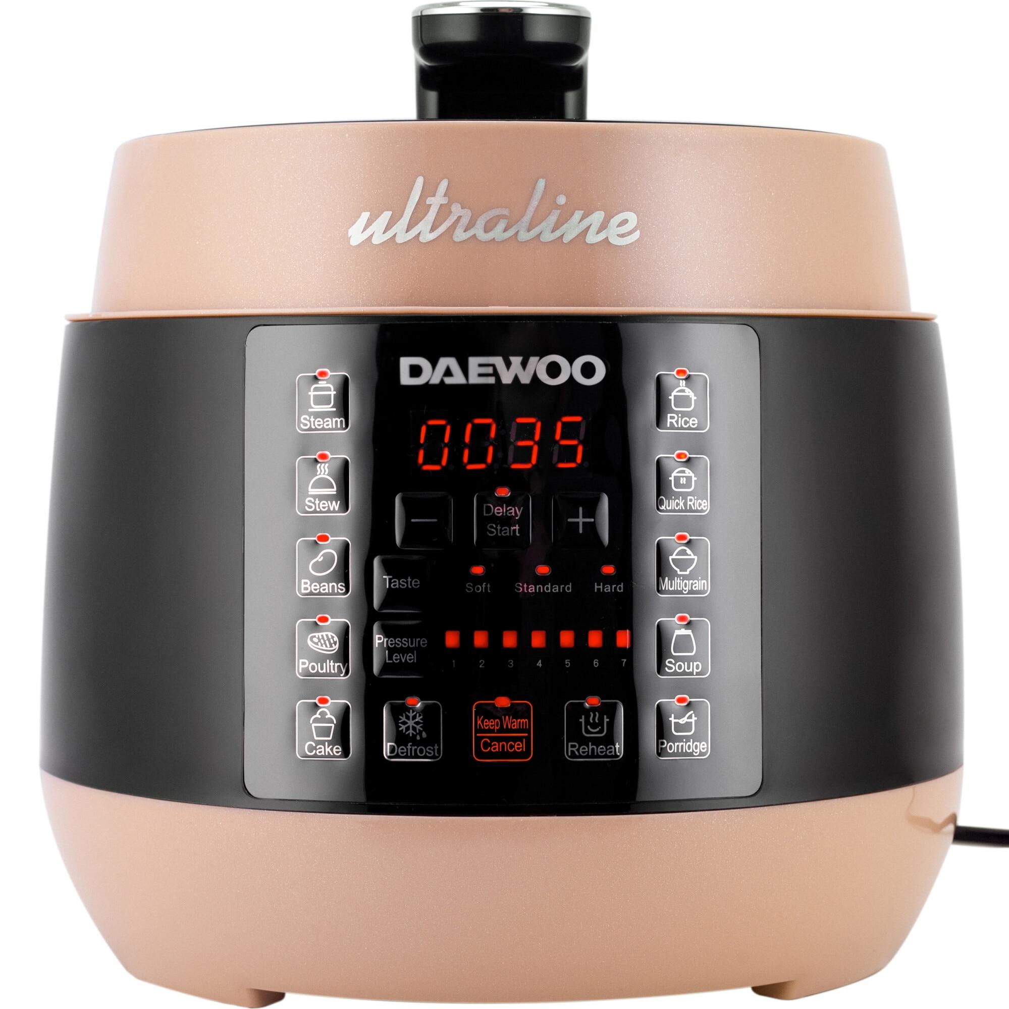 Fotografie Multicooker sub presiune Daewoo Ultraline, 900 W, capacitate 5 litri, 7 niveluri de presiune, 10 programe de gatire, start intarziat, functie decongelare, reincalzire, mentinerea caldurii, recipient din otel inoxidabil, display LED, Crem