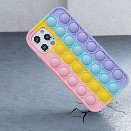 Husa PopIt G-Tech pentru Samsung Galaxy A52 4G (SM-A525), Push Pop Bubble Fidget, Antisoc, Jucarie antistres si husa de protectie, Silica Gel, Multicolor