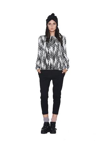 Bluza de dama cu imprimeu grafic, KVINNA, 100% vascoza
