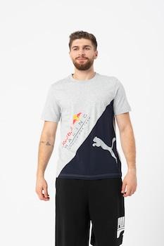 Puma, Red Bull Racing logómintás póló, Melange szürke/Sötét tengerészkék/Piros