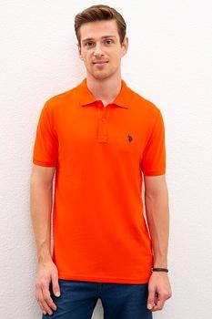 U.S. Polo Assn., Szűk fazonú piké galléros pamutpóló, Mandarinszín