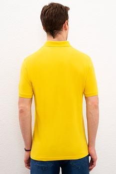 U.S. Polo Assn., Szűk fazonú piké galléros pamutpóló, Sárga