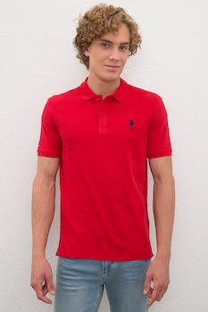 U.S. Polo Assn., Szűk fazonú galléros póló hímzett logóval, Piros