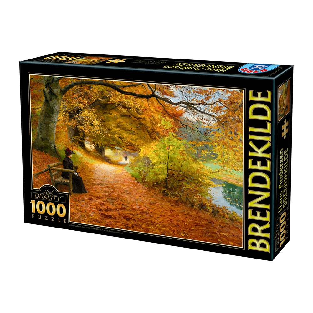 Fotografie Puzzle D-Toys Hans Andersen Brendekilde, A Wooded Path in Autumn, 1000 piese