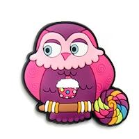 Hűtőmágnes bagoly pink muffin