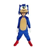 Детски карнавален костюм HuxyMascots Соник, Син, размер 110