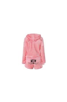 Meow puha női pizsama szett, nadrággal és blúzzal, M méret, rózsaszín
